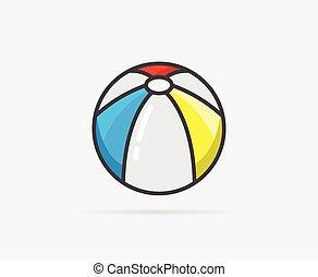 wektor, piłka, plaża, ilustracja