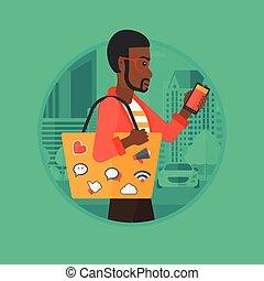 wektor, pieszy, smartphone, illustration., człowiek