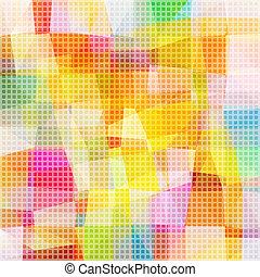 wektor, pixel, mozaika, wielobarwny