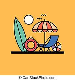 wektor, plaża, ilustracja