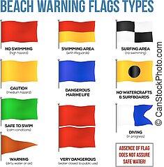 wektor, plaża, ostrzeżenie, bandery, typy