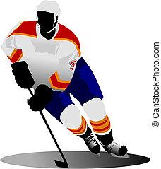 wektor, player., hokej, ilustracja, lód