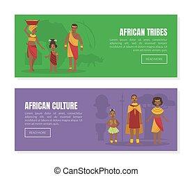 wektor, plemiona, ludzie, ilustracja, afrykanin, tradycyjny, komplet, lądowanie, plemienny, szablony, strona, odzież, krajowiec, kultura
