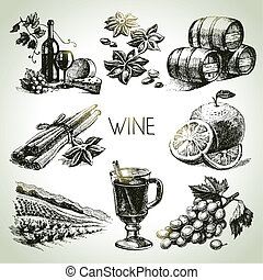 wektor, pociągnięty, komplet, ręka, wino