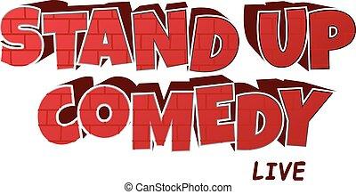 wektor, podnieść się, rysunek, temat, cegła, ilustracja, czerwony, komedia