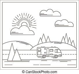 wektor, podróż, ilustracja, w, linearny, styl