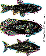 wektor, podwodny, różny, komplet, organiczny, morze, species., produkty morza, zbiór, symbolika, ryby, graficzny, leszcz, salmon., pociągnięty, słodkowodny, bas
