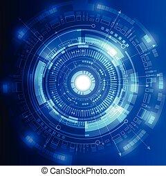 wektor, pojęcie, abstrakcyjny, ilustracja, tło, przyszłość, technologia