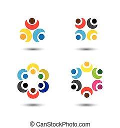 wektor, pojęcie, barwny, szkoła, ludzie, -, komplet, ikony, koło