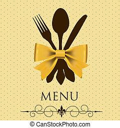 wektor, pojęcie, menu., ilustracja, restauracja