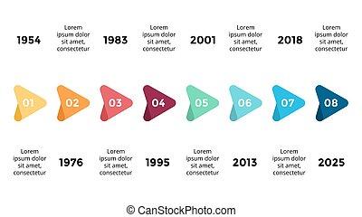 wektor, pojęcie, processes., handlowy, infographic, timeline, opcje, strzały, diagram, strony, wykres, presentation., wykres, 8, kroki, postęp, triangle