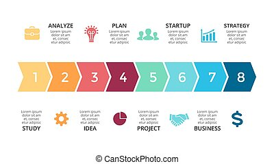 wektor, pojęcie, processes., handlowy, infographic, timeline, opcje, strzały, diagram, strony, wykres, presentation., wykres, 8, kroki, postęp