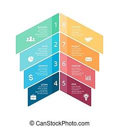 wektor, pojęcie, processes., handlowy, infographic, wykres, opcje, strzały, diagram, strony, wykres, presentation., 8, kroki