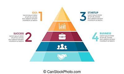 wektor, pojęcie, trójkąt, presentation., handlowy, infographic, wykres, opcje, strzały, do góry, diagram, strony, wykres, piramida, 4, timeline, kroki, processes.