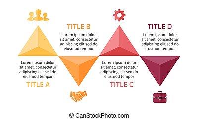 wektor, pojęcie, trójkąt, processes., handlowy, infographic, wykres, opcje, strzały, do góry, diagram, strony, wykres, presentation., 4, timeline, kroki