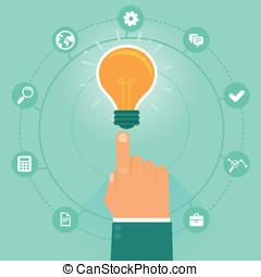 wektor, pojęcie, -, twórczy, handlowy, kierownictwo