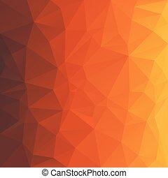 wektor, polygonal, tło, trójkątny, projektować, w, miód, kolor, -, brązowy, pomarańcza, żółty