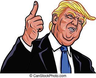 wektor, portret, donald, prezydent, 45th, zuch, stany zjednoczony, ilustracja