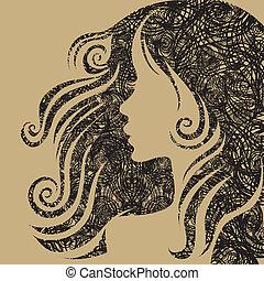 wektor, portret, kobieta, closeup