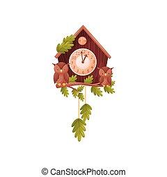 wektor, posiedzenie, ścienny zegar, house., dwa, ilustracja, tło., formułować, sowy, gałąź, przód, biały