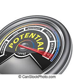wektor, potencjał, konceptualny, metr, indykator
