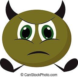 wektor, potwór, malarstwo, gniewny, zielony, albo, kolor, ilustracja