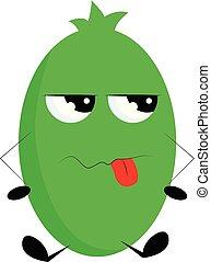 wektor, potwór, pokaz, tło, gniewny, biały, zielony, kolor, ilustracja, dezaprobata