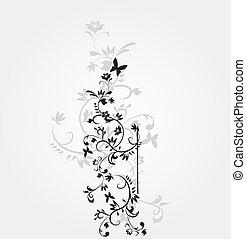 wektor, próbka, biały kwiat, tło