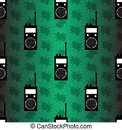 wektor, próbka, seamless, stacja, radio, tło, zielony