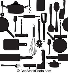 wektor, próbka, tools., seamless, kuchnia