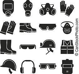 wektor, praca, bezpieczeństwo, komplet, wyposażenie, ikony