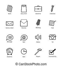 wektor, praca, icons., ilustracja handlowa