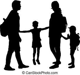 wektor, praca, sylwetka, rodzina
