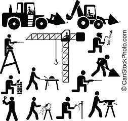 wektor, pracujący, ilustracja, silhoue
