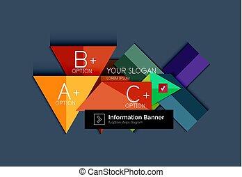 wektor, projektować, krok, szablon, kolor, abstrakcyjny, infographics, płaski, informacja, options., diagram, chorągiew