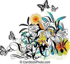 wektor, projektować, kwiatowy
