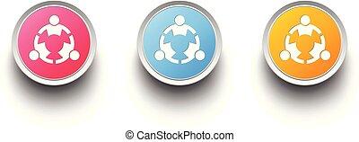 wektor, projektować, teamwork, osoba, ikona, ludzie, group., komplet, 3d, trzy