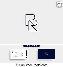 wektor, prosty, projektować, rr, r, logo, litera