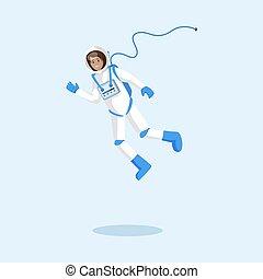 wektor, przelotny, kosmonauta, illustration., przestrzeń, ...