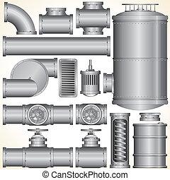 wektor, przemysłowy, elementy