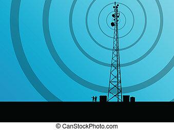 wektor, przemysłowy, ruchoma głoska, pojęcie, radio, tło, stacja, wieża, baza, telekomunikacje, inżynierowie