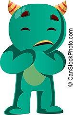 wektor, przestraszony, zielony potwór, ilustracja