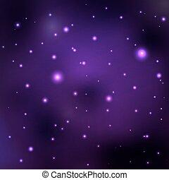 wektor, przestrzeń, purpurowy, abstrakcyjny, galaktyki, nebula., gwiazdy, oddalony, planets., tło