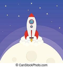 wektor, przestrzeń, rysunek, rakieta szalupa