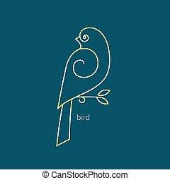 wektor, ptak, logo, w, niejaki, modny, linearny, style.