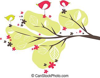 wektor, ptaszki, drzewo., tło, ilustracja