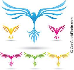 wektor, ptaszki, ikony