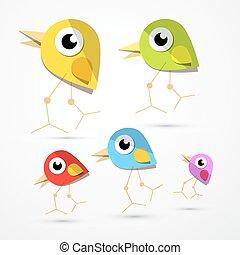 wektor, ptaszki, odizolowany, na, lekki, tło