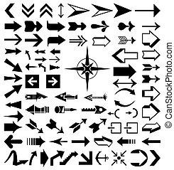 wektor, różny, ilustracja, zbiór, arrows.