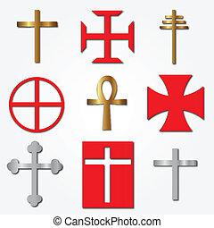 wektor, różny, krzyże